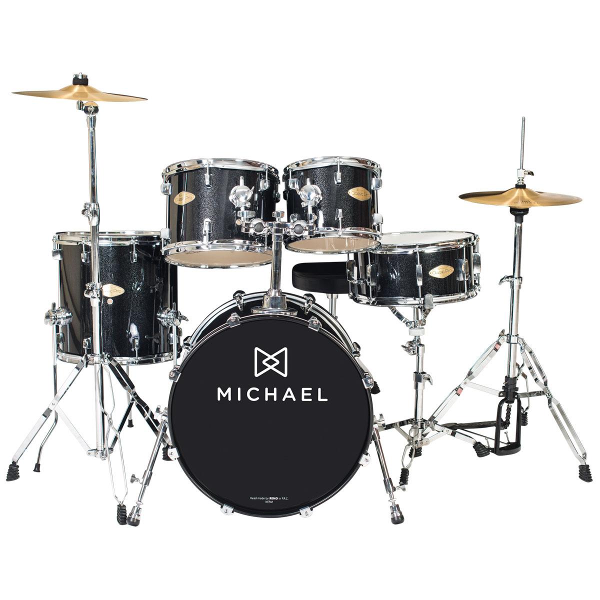 Bateria Acústica Bumbo 18 Polegadas Classic Pro DM841 BKS Preta Sparkle - Michael