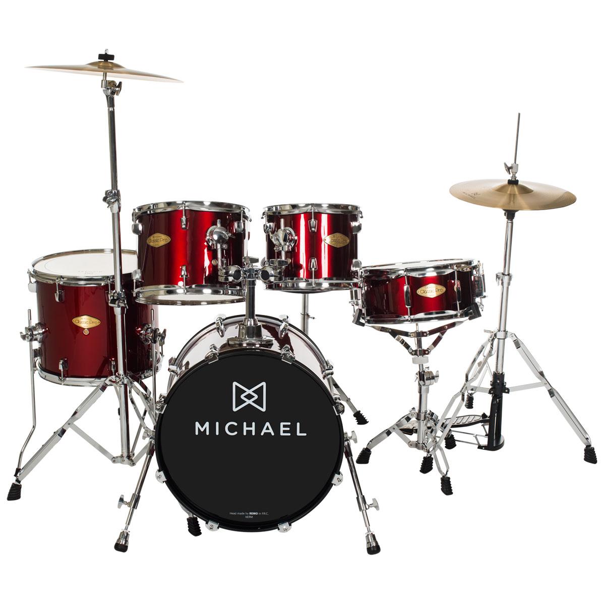 Bateria Acústica Bumbo 18 Polegadas Classic Pro DM841 WR Vinho Vermelho - Michael