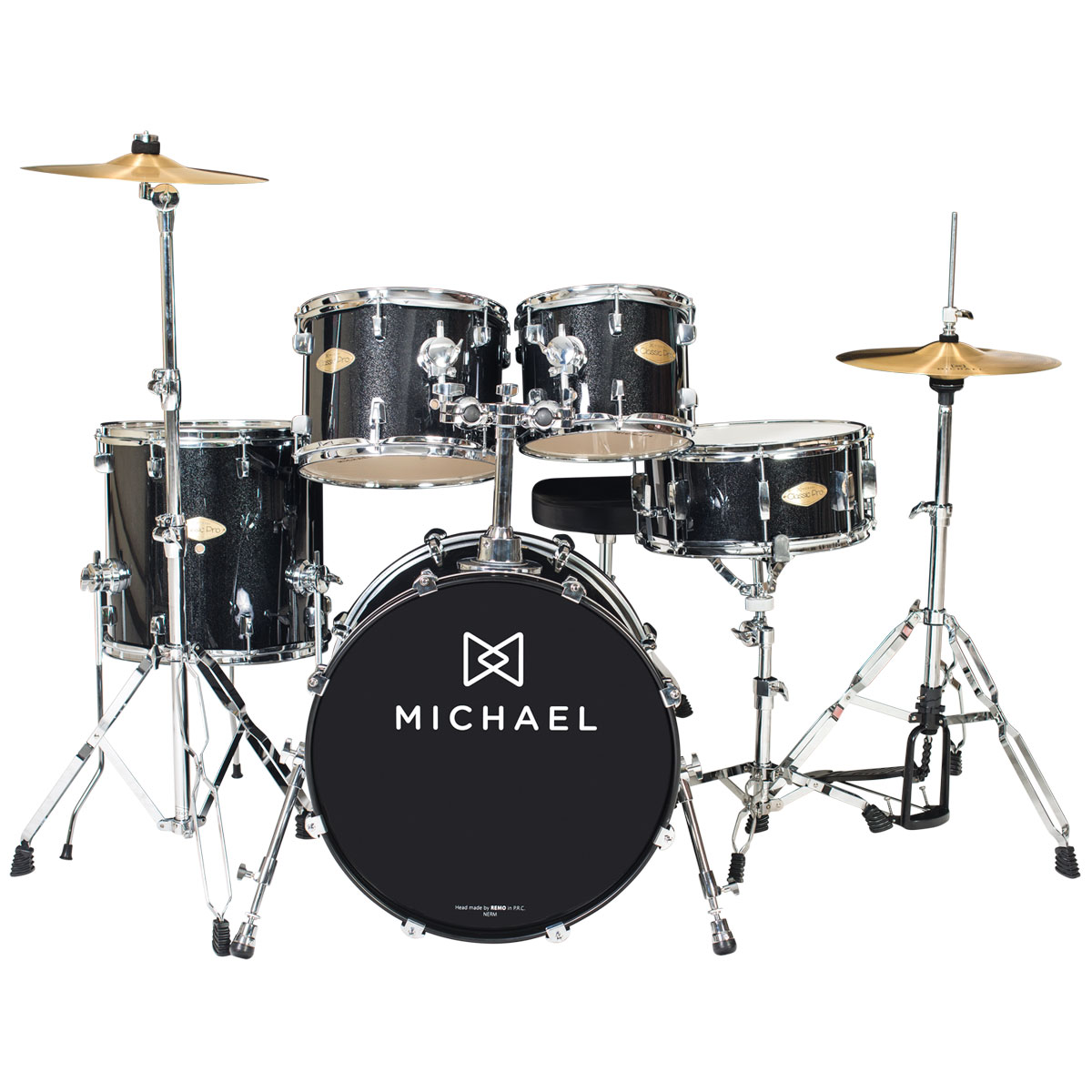 Bateria Acústica Bumbo 20 Polegadas Classic Pro DM842 BKS Preta Sparkle - Michael