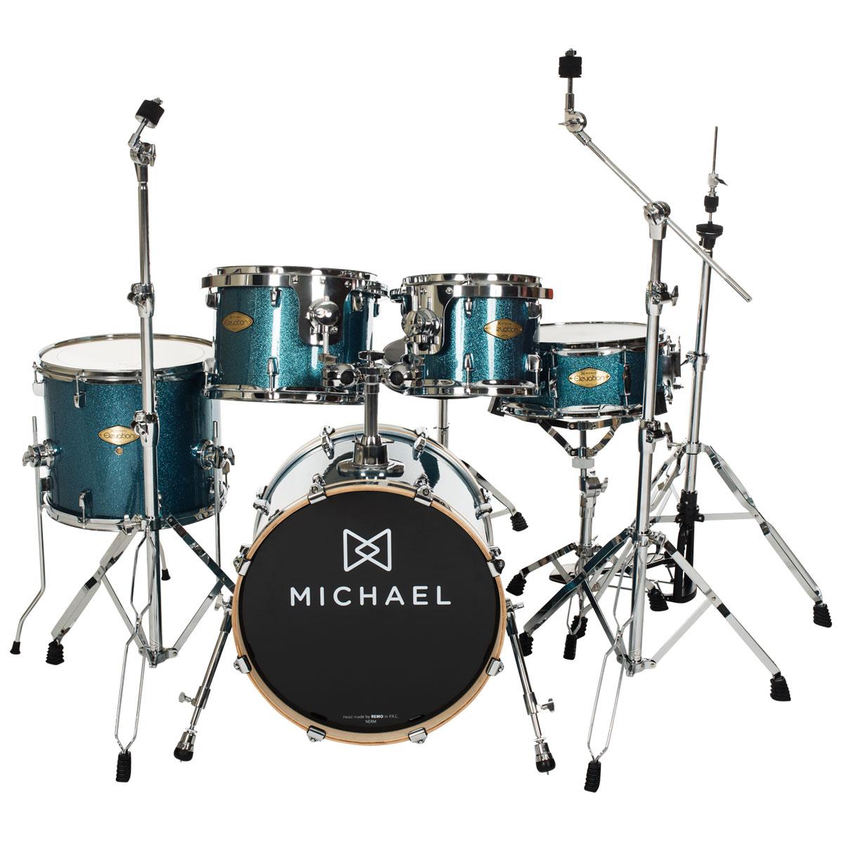 Bateria Acústica Bumbo 20 Polegadas Elevation DM852 BLS Azul Sparkle - Michael