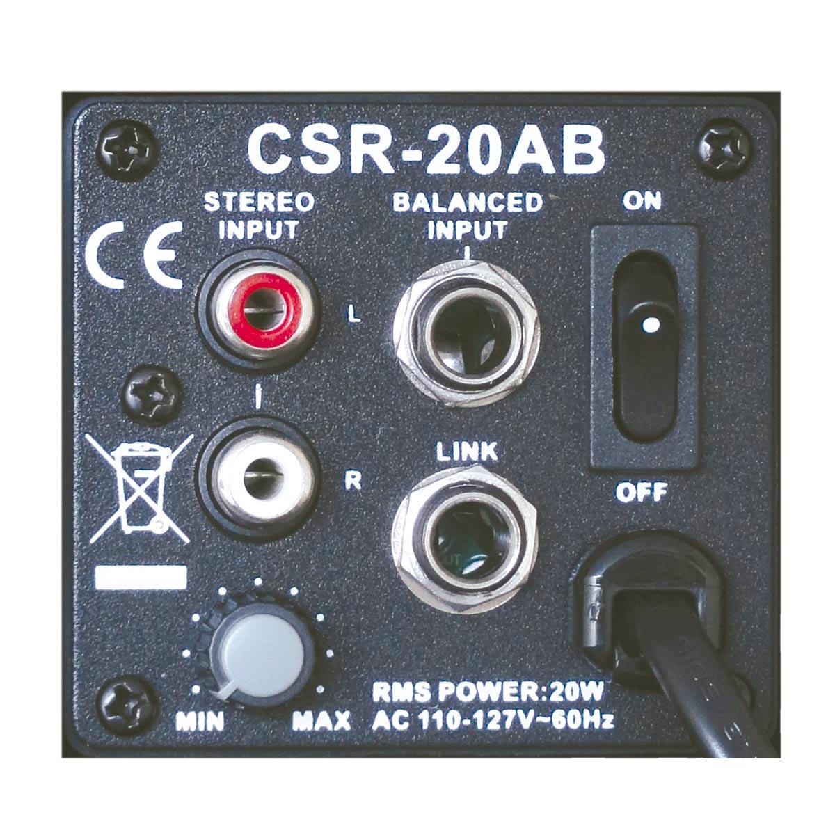 Caixa Ativa 20W c/ Suporte CSR20AB 110V Preta ( Par ) - CSR
