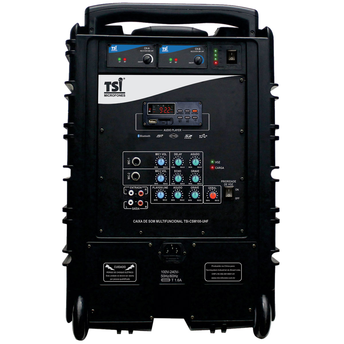 Caixa Ativa Portátil c/ Bateria, Bluetooth, USB e 2 Microfones CSM100-UHF - TSI