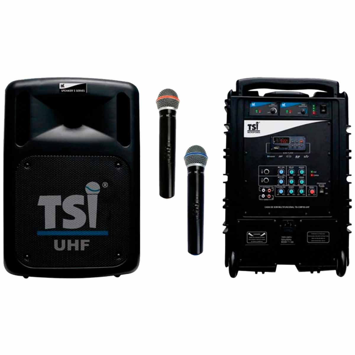 Caixa Port�til c/ Bateria, Bluetooth, USB e Microfone CSM 100-UHF - TSI