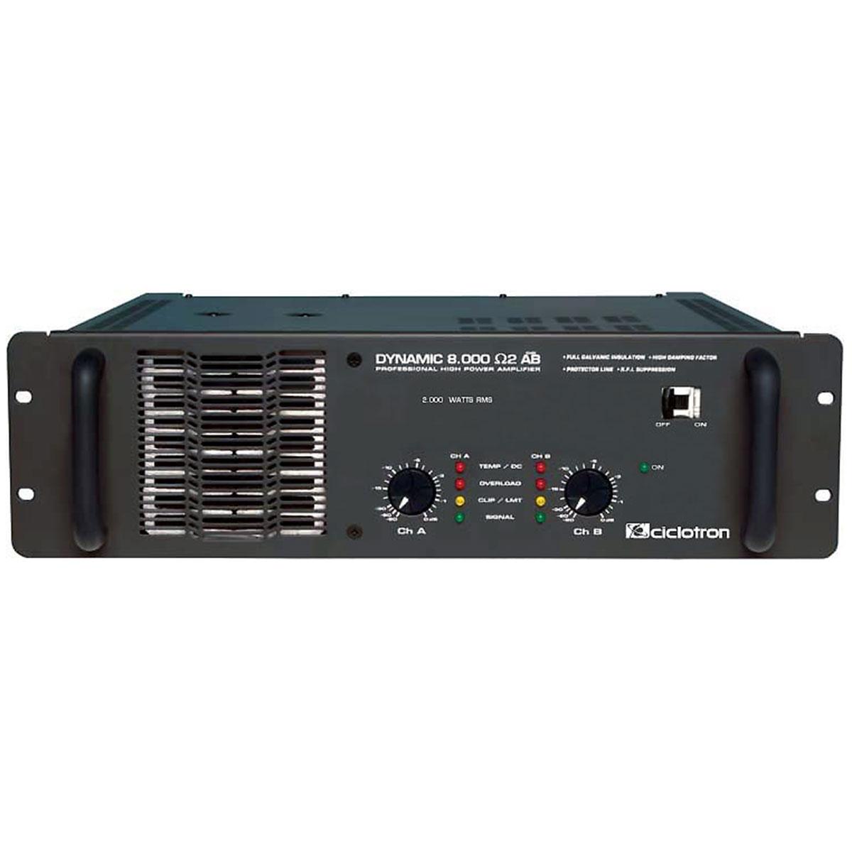 Amplificador Estéreo 2 Canais 2000W RMS ( Total ) Dynamic 8000 2 Ohms AB - Ciclotron