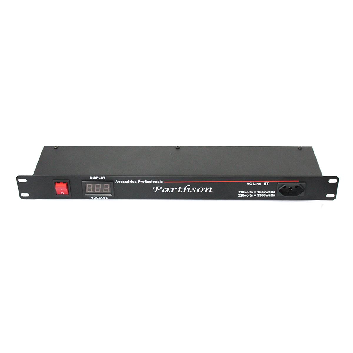 Filtro de Linha / Régua de Energia 3300W c/ Voltímetro AC Line 8TV - Parthson