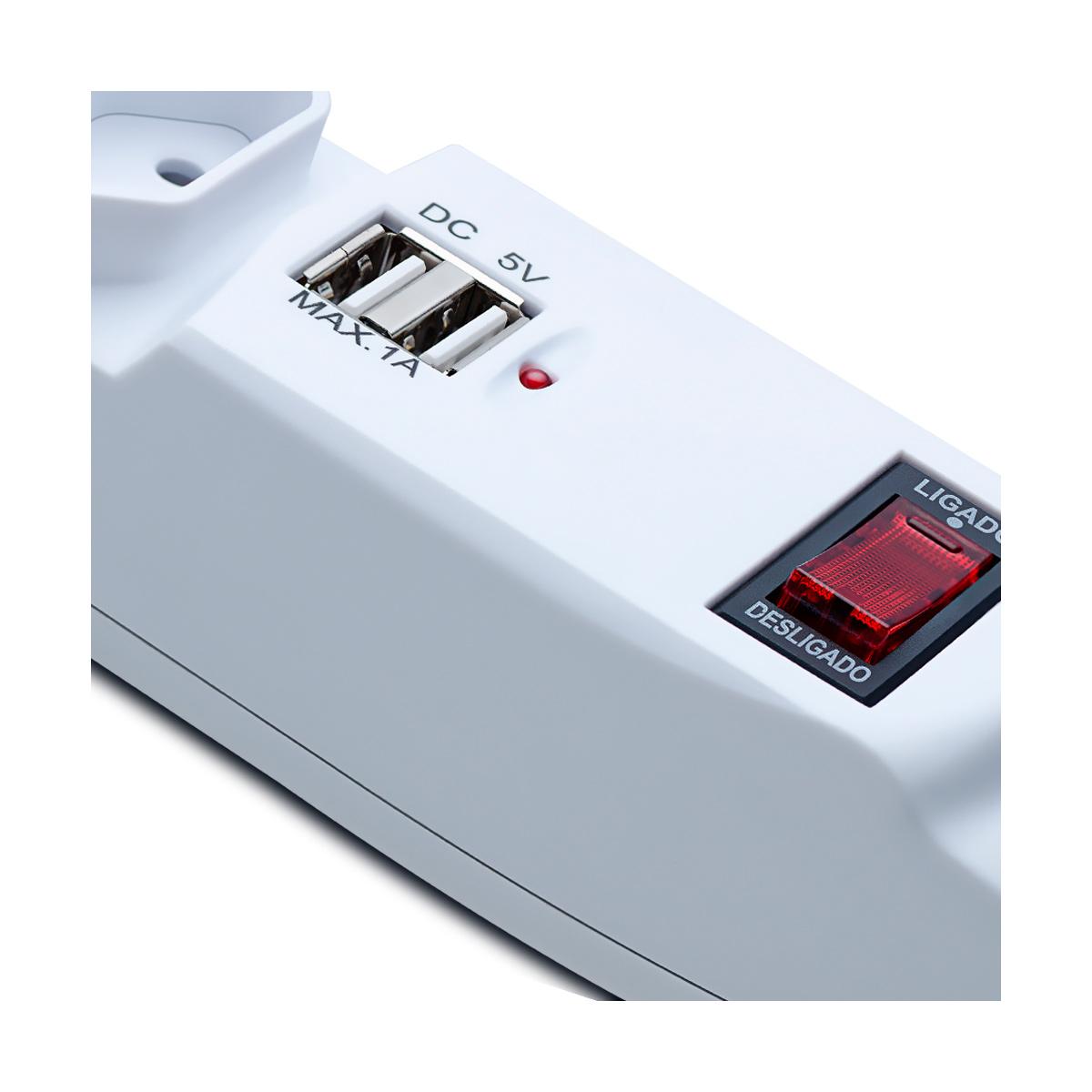 Filtro de Linha 6 Tomadas 2 USB FL-01 - Aquário