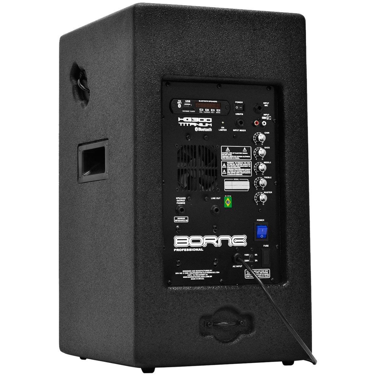HG300 - Caixa Ativa 200W c/ Bluetooth e USB HG 300 Titanium BT - Borne