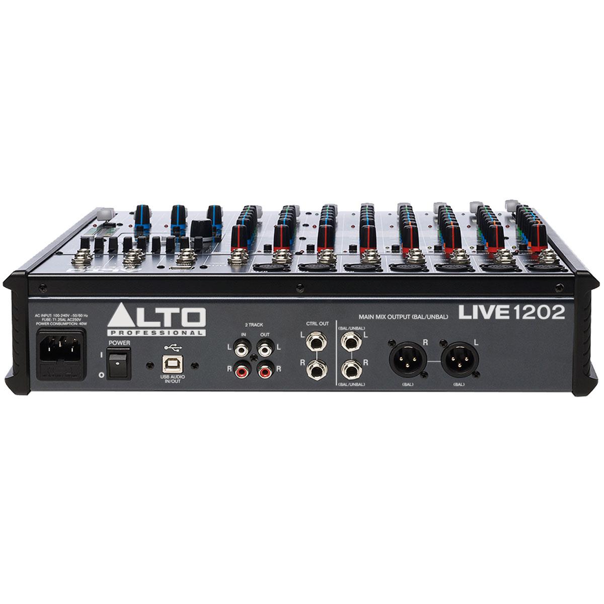 Mesa de Som 12 Canais Balanceados (7 XLR + 5 P10) c/ USB / Efeito / Phantom / 2 Auxiliares - Live 1202 Alto