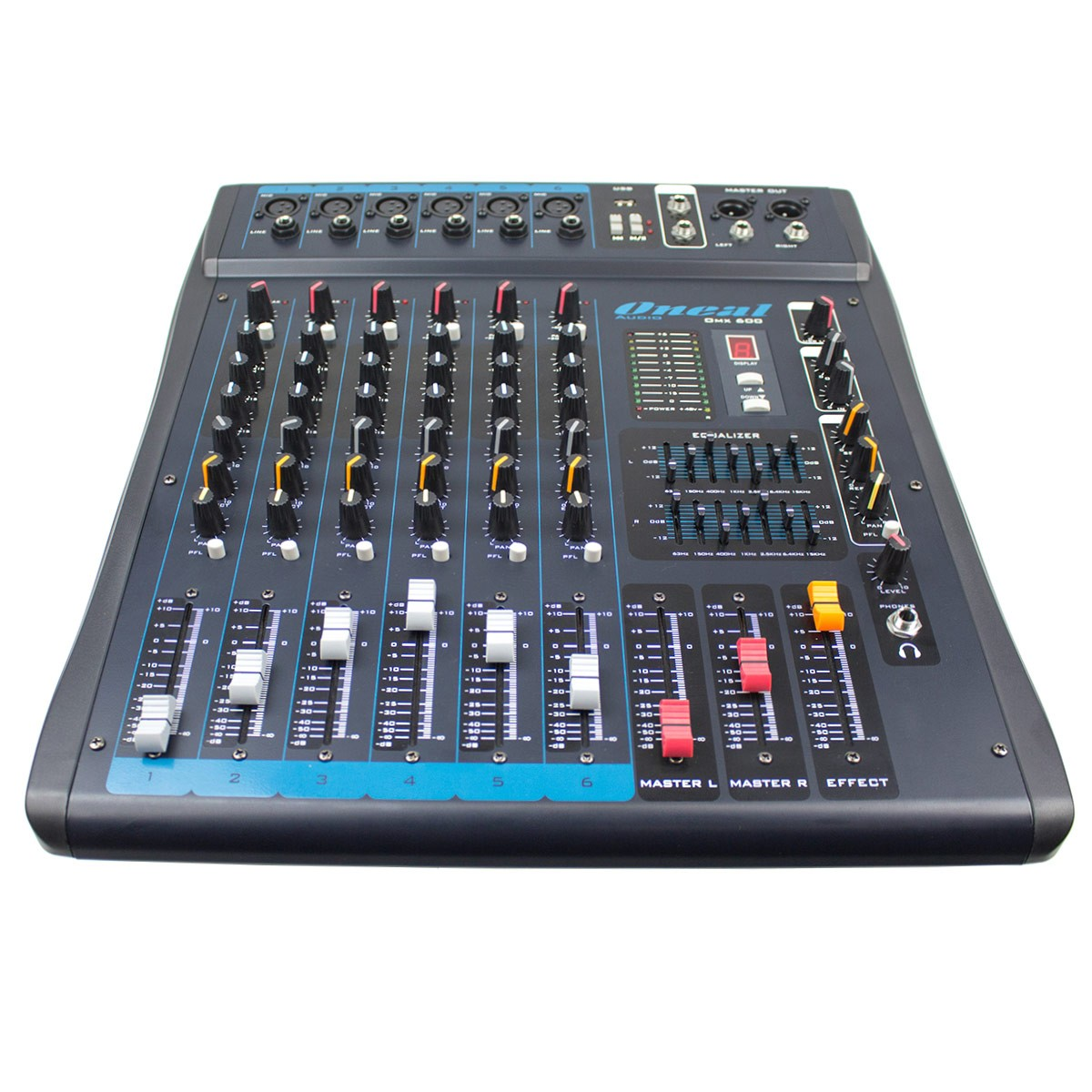 Mesa de Som 6 Canais XLR Balanceadas c/ USB / Efeito / Phantom / 1 Auxiliar - OMX 600 Oneal