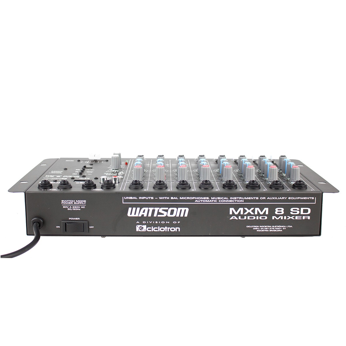 Mesa de Som 8 Canais P10 Desbalanceados c/ USB Play / 1 Auxiliar - MXM 8 SD Ciclotron