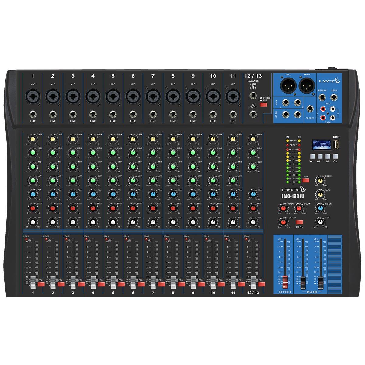 Mesa de Som 13 Canais Balanceados ( 11 XLR + 2 P10 ) c / USB / Phantom / 1 Auxiliar - LMG 1301 U Lyco