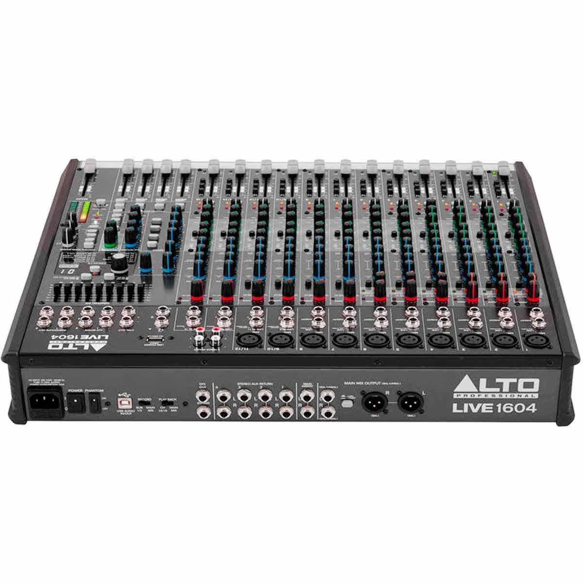 Mesa de Som 16 Canais Balanceados (10 XLR + 6 P10) c/ USB / Efeito / Phantom / 4 Auxiliares - Live 1604 Alto