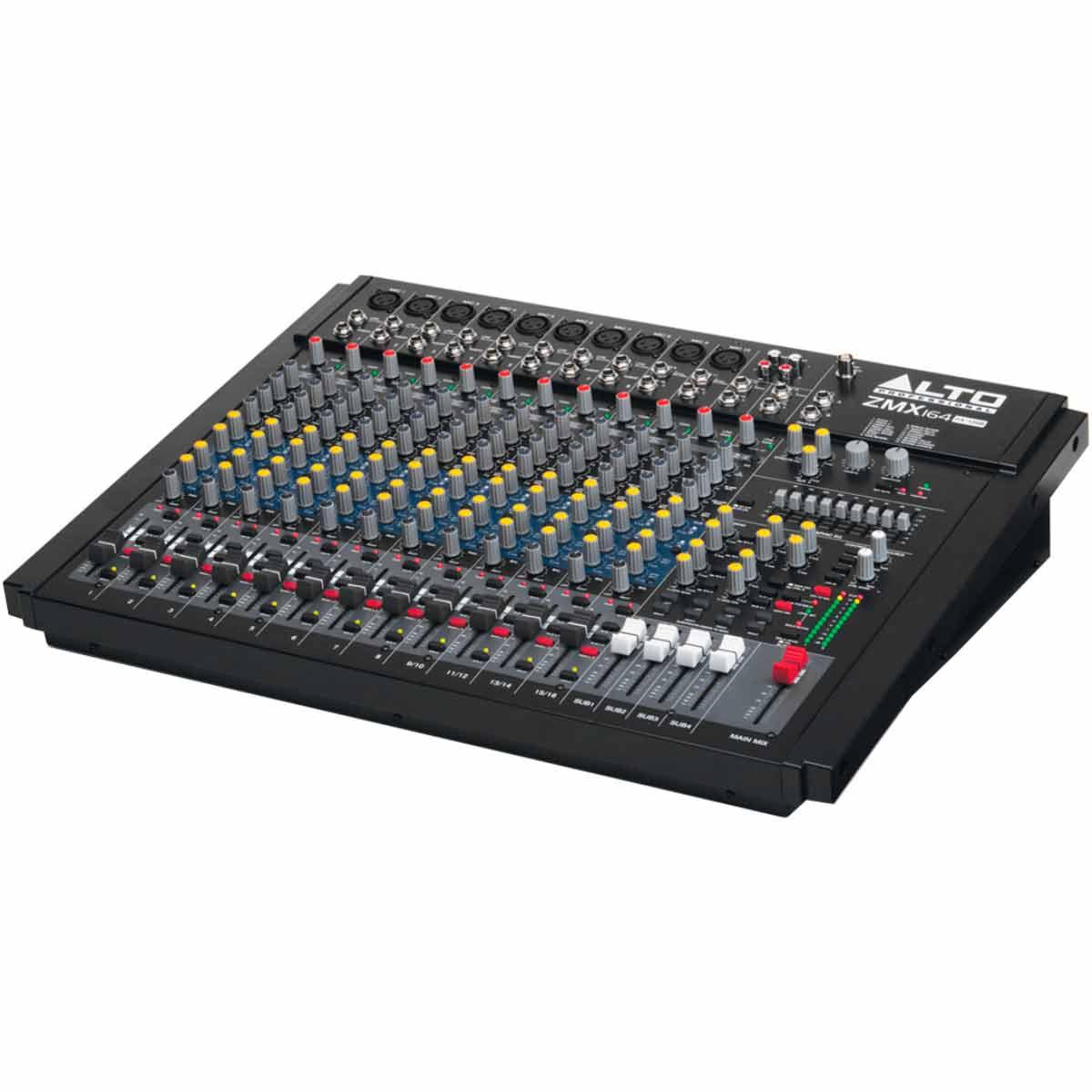 Mesa de Som 16 Canais Balanceados (10 XLR + 4 P10) c/ USB / Efeito / Phantom / 4 Auxiliares - Zephyr ZMX 164 FX USB Alto