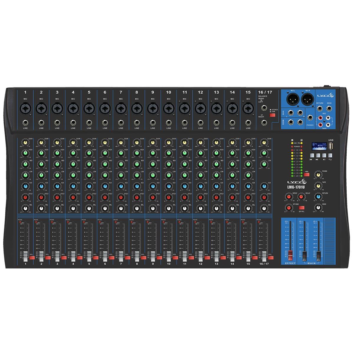 Mesa de Som 17 Canais Balanceados ( 15 XLR + 2 P10 ) c / USB / Efeito / Phantom / 1 Auxiliar - LMG 1701 U Lyco