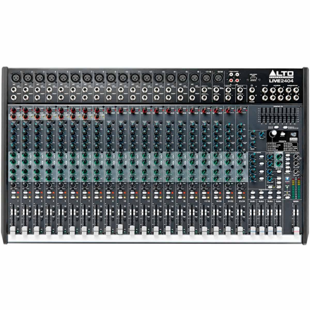 Mesa de Som 24 Canais Balanceados (18 XLR + 6 P10) c/ USB / Efeito / Phantom / 4 Auxiliares - Live 2404 Alto