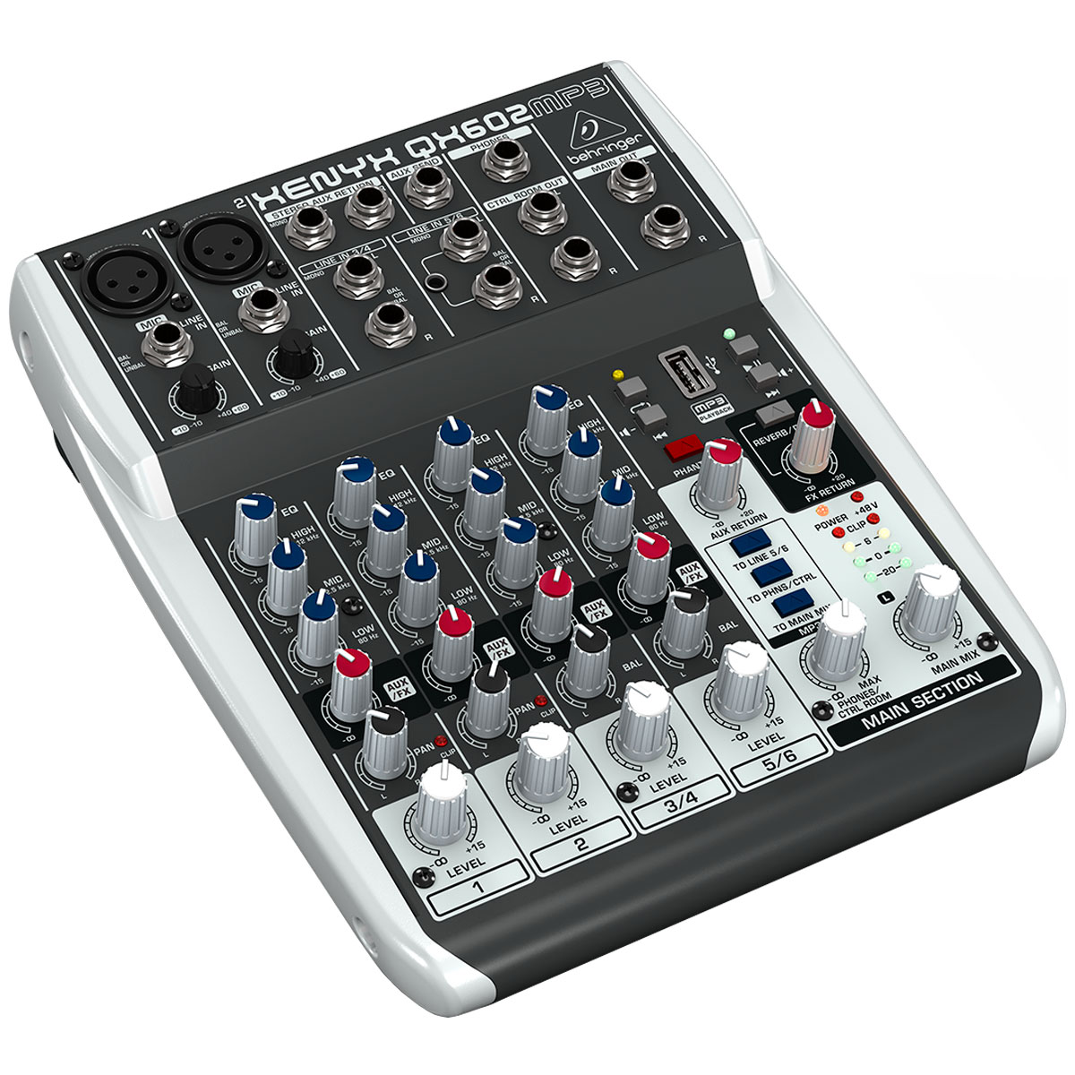 Mesa de Som 6 Canais Balanceados (2 XLR + 4 P10) c/ USB / Efeito / Phantom / 1 Auxiliar - Xenyx QX 602 MP3 Behringer