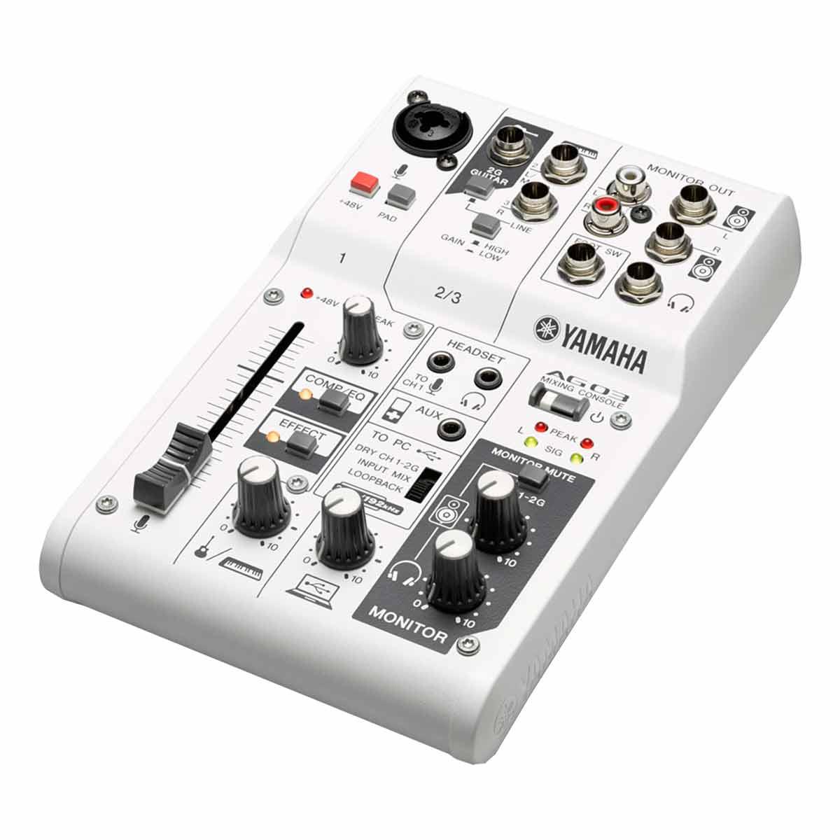 Mesa de Som / Mixer Compacto 3 Canais c/ Interface de Som AG03 - Yamaha