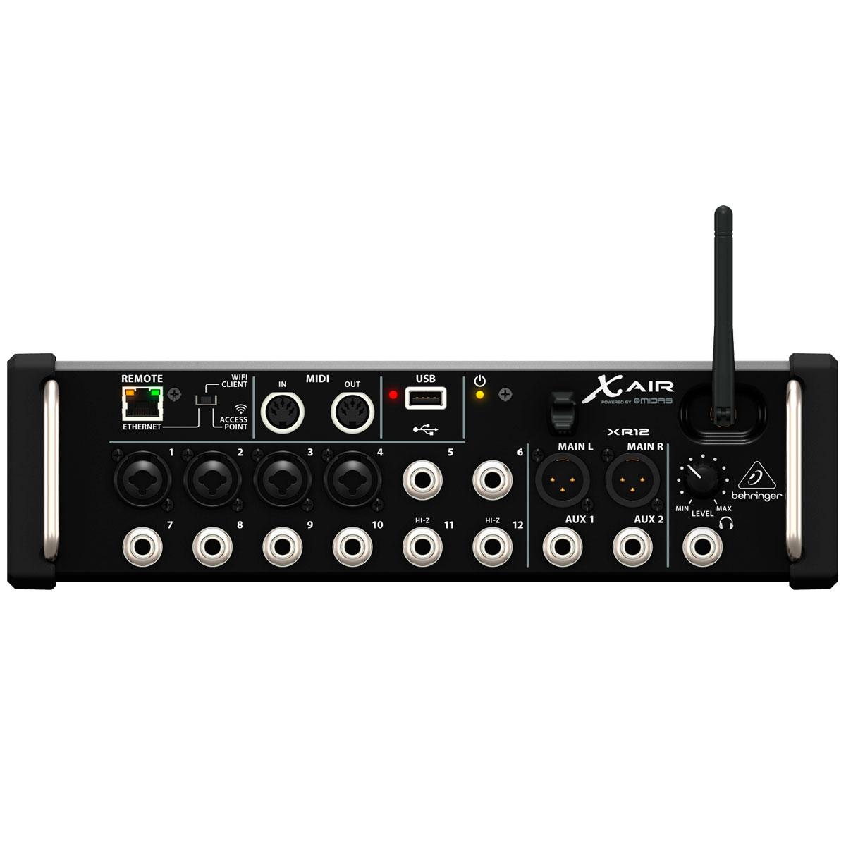 Mesa de Som 12 Canais Balanceados (4 XLR + 8 P10) c/ USB / MIDI / Efeito / Phantom / 6 Auxiliares - X AIR XR 12 Behringer