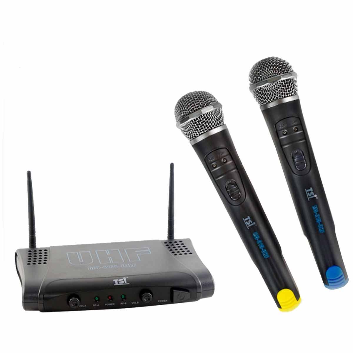 Microfone s/ Fio de Mão Duplo UHF MS-215-UHF - TSI