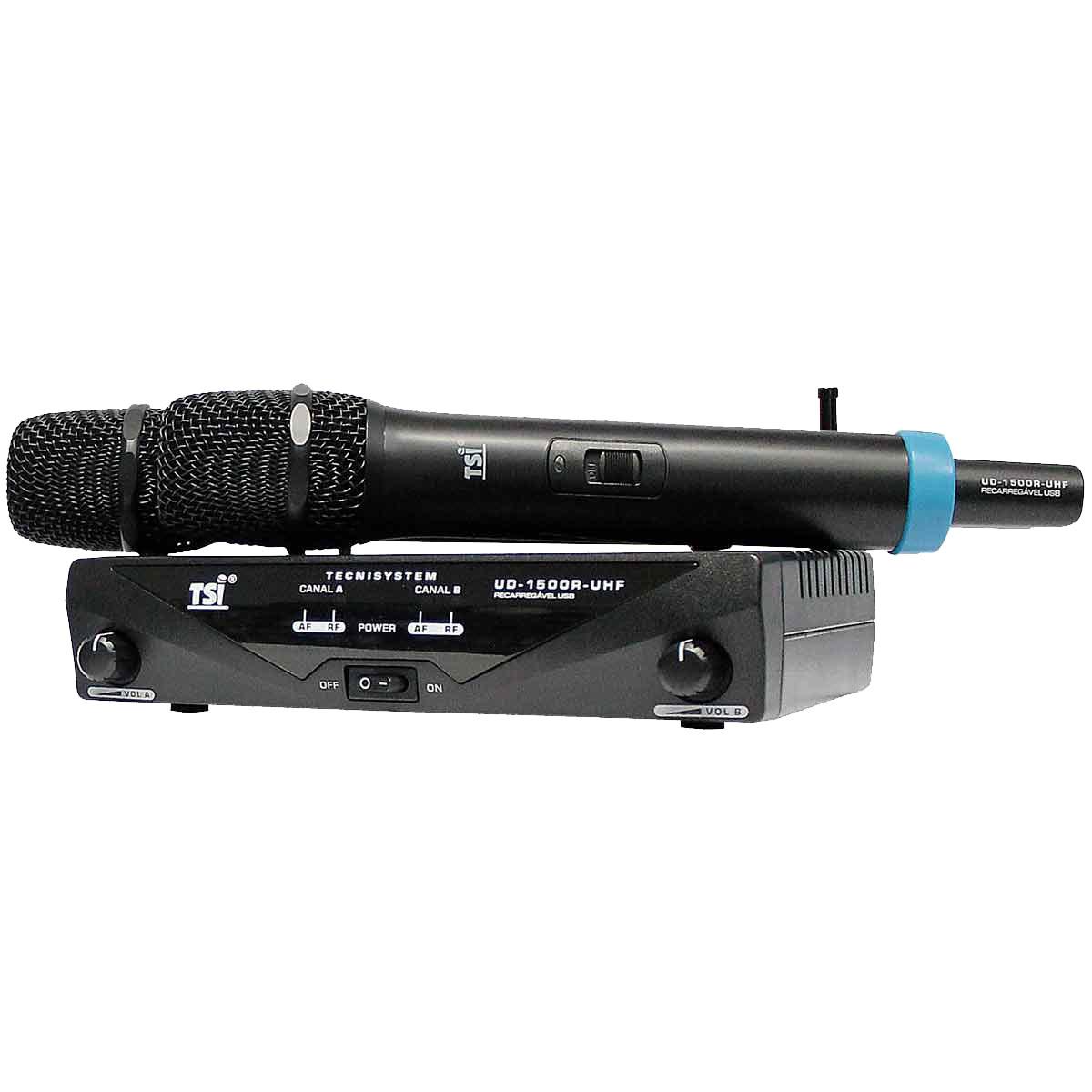 Microfone s/ Fio de Mão Duplo Recarregável UHF - UD 1500 R UHF TSI