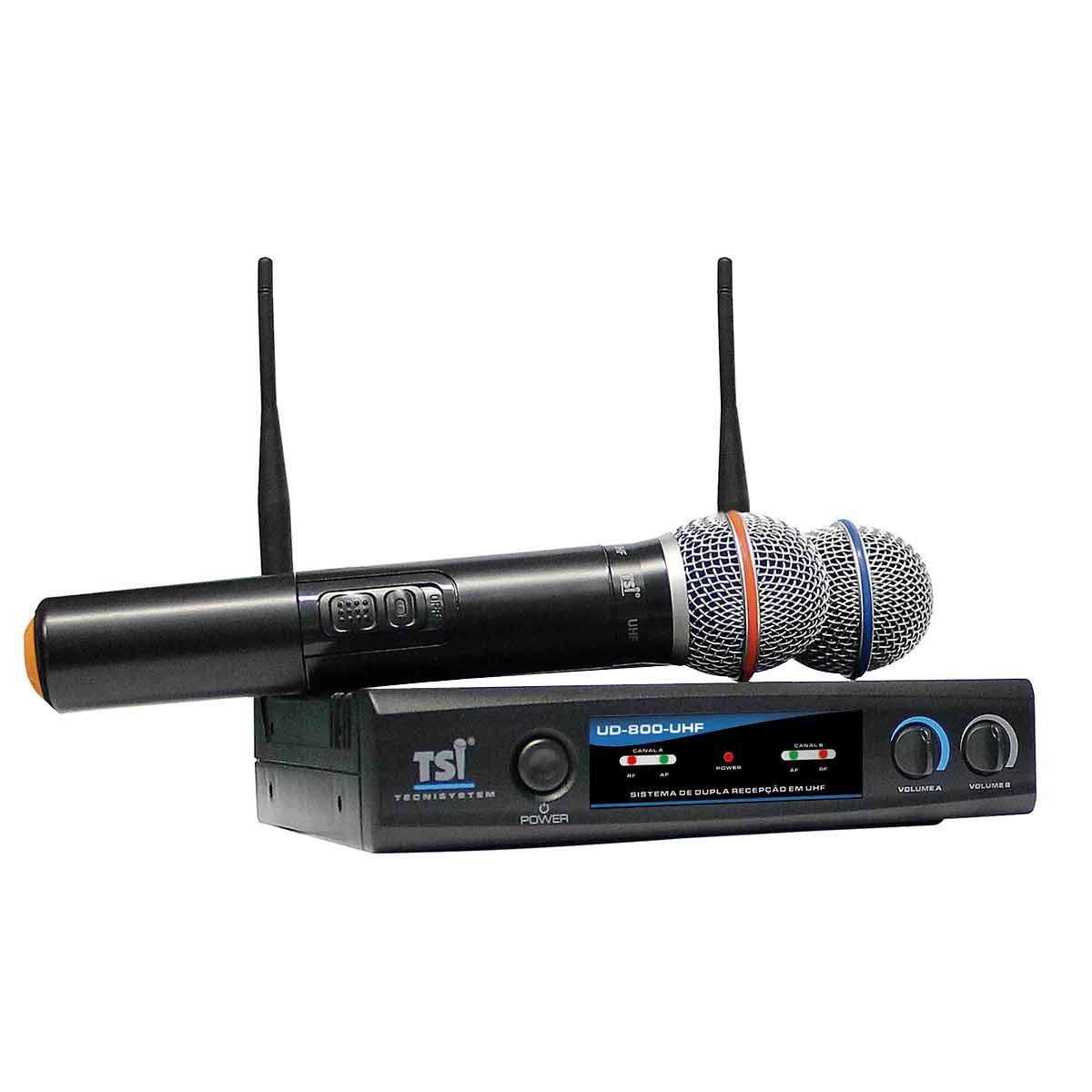 Microfone s/ Fio de M�o Duplo UHF UD-800-UHF - TSI