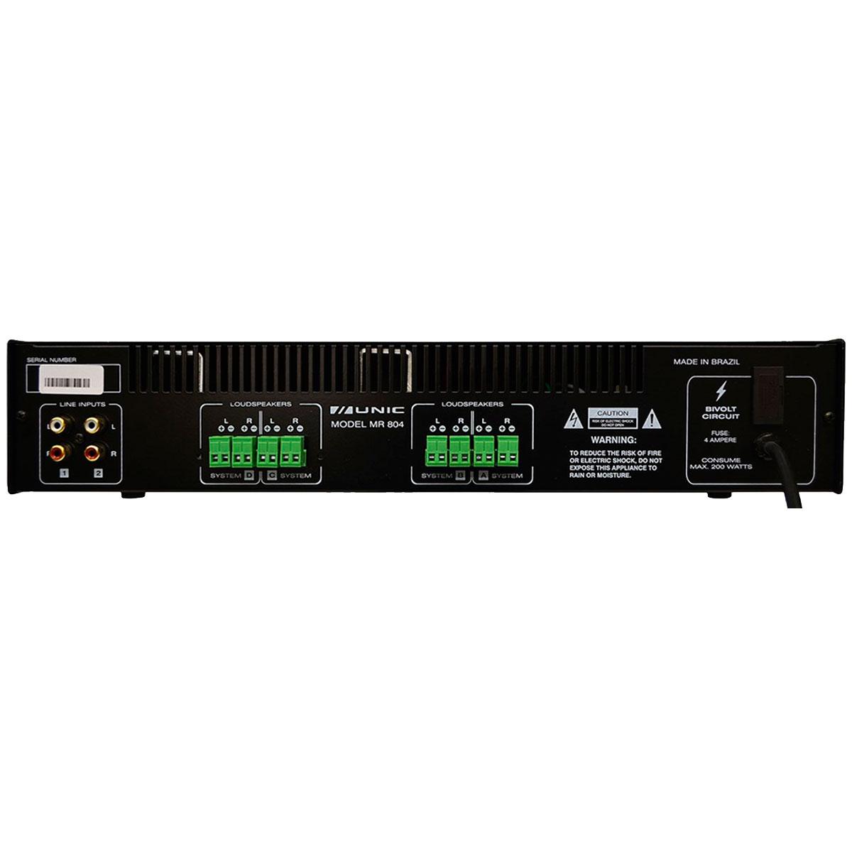 Amplificador Som Ambiente Multicanal 200W MR 804 - Unic