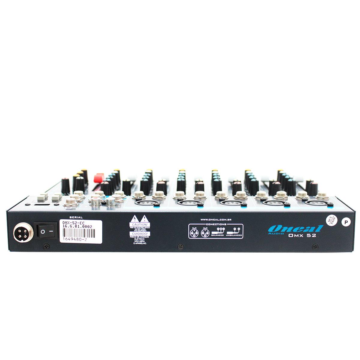 Mesa de Som / Mixer 5 Canais c/ USB OMX 52 - Oneal