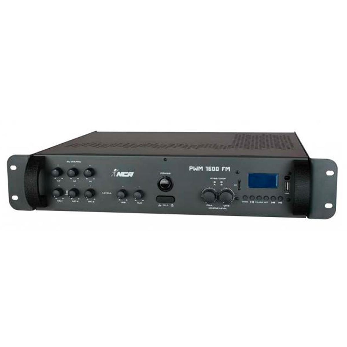 PWM1600USB - Amplificador Som Ambiente 400W c/ USB e FM PWM 1600 USB - NCA