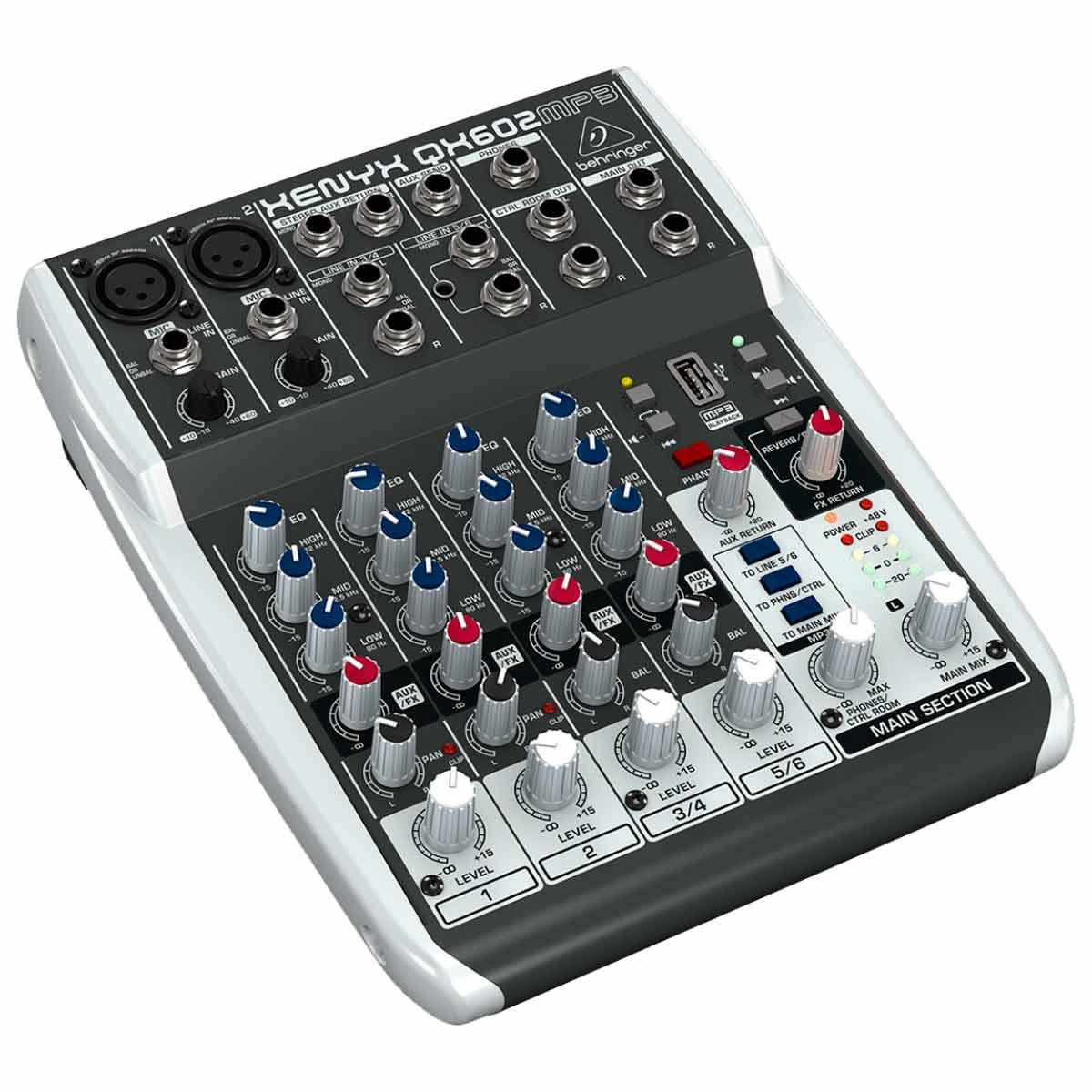 QX602MP3 - Mesa de Som / Mixer 6 Canais c/ USB QX 602 MP3 - Behringer