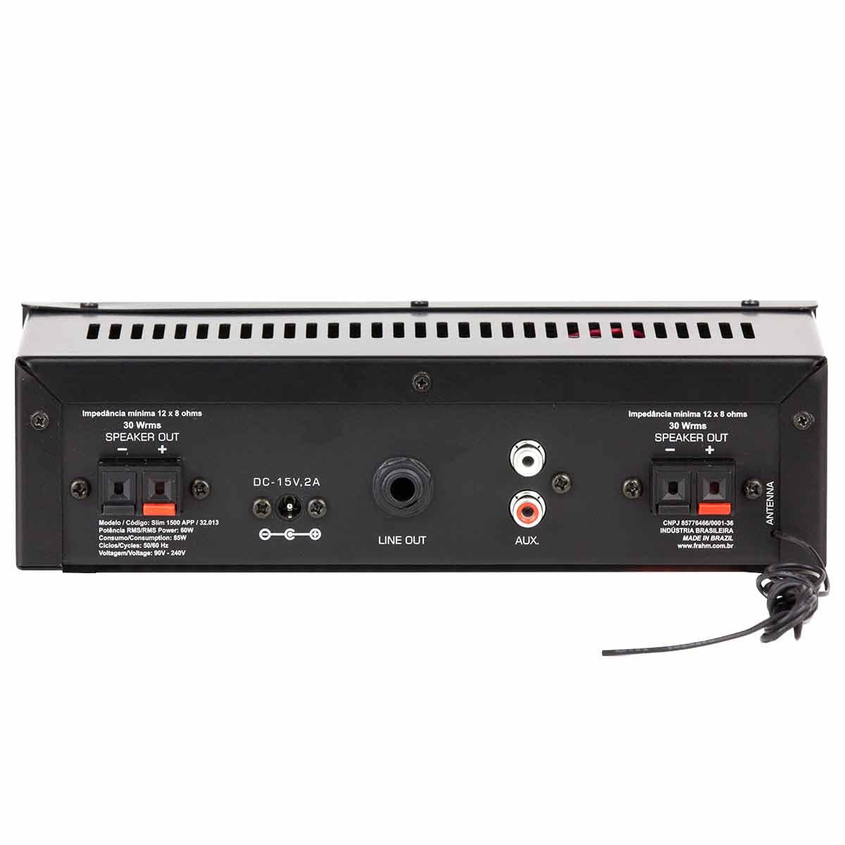 Amplificador Som Ambiente 60W c/ Bluetooth, USB e APP SLIM 1500 APP - Frahm