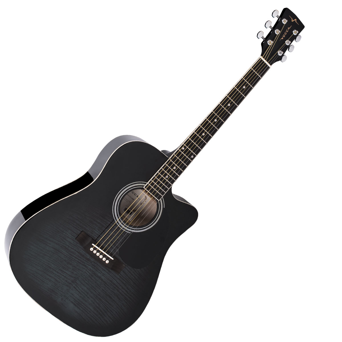 Viol�o Folk Cutaway Ac�stico VCK371 Black Maple Flamed - Vogga