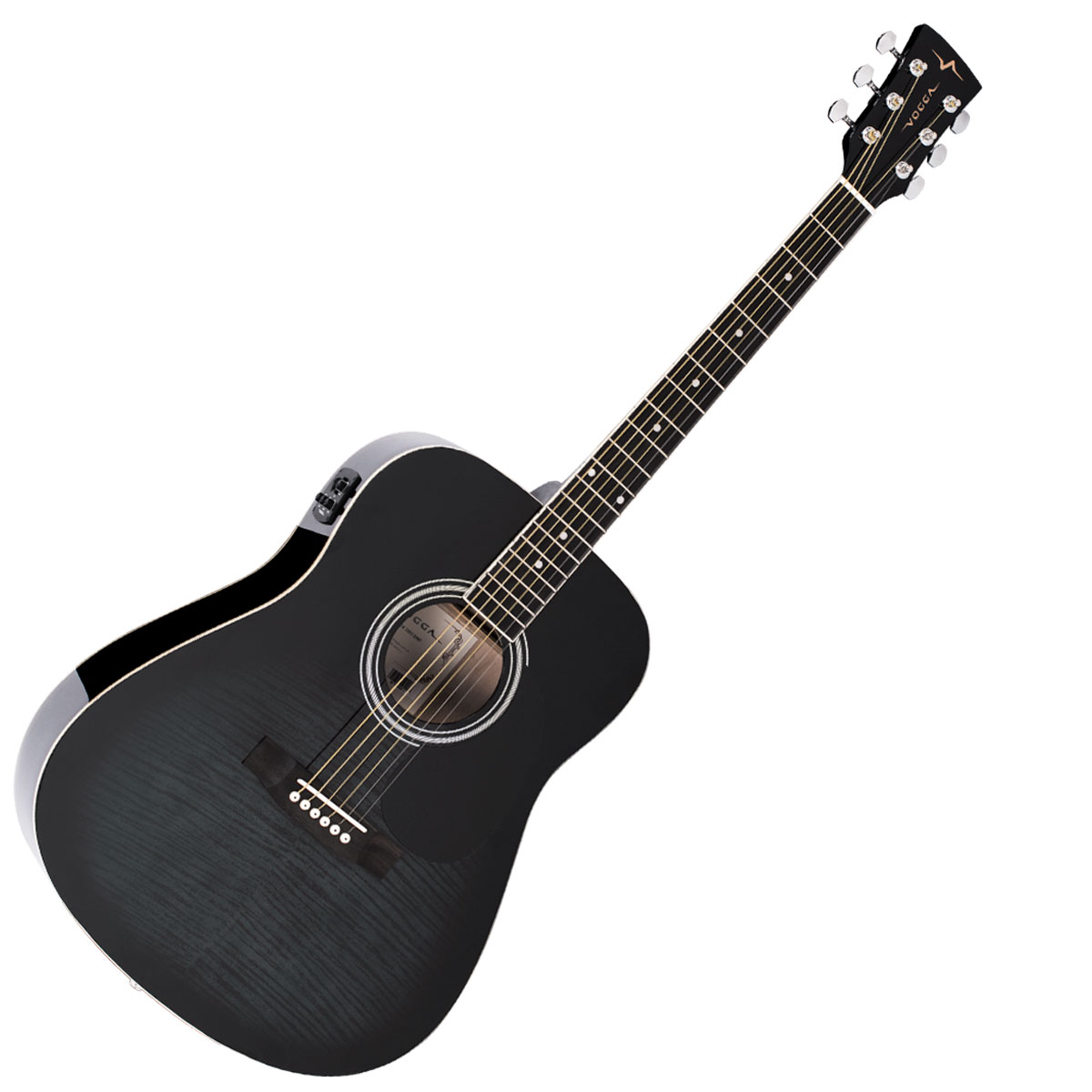 Violão Folk Elétrico VCK380 Black Maple Flamed - Vogga