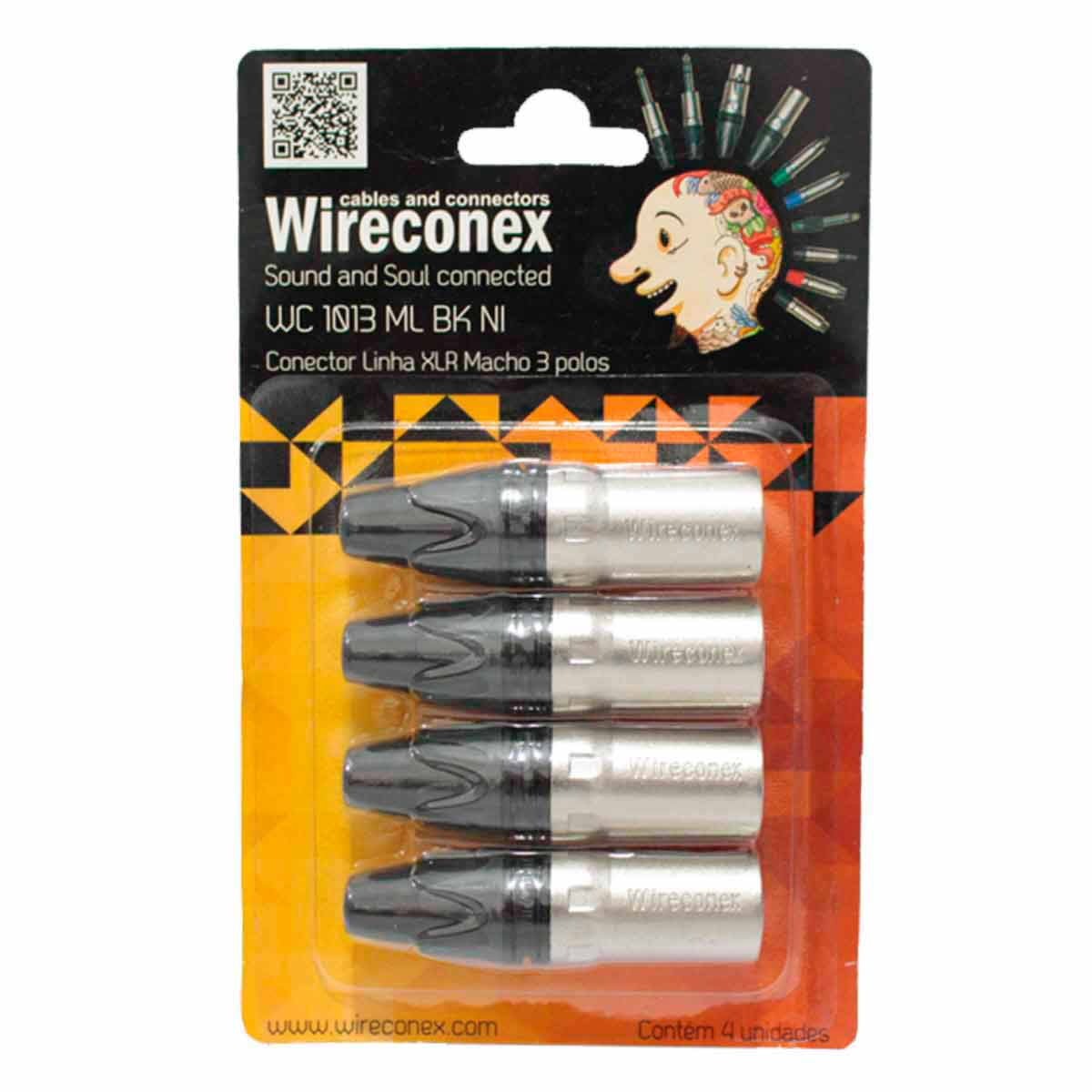 WC1013 - Conector XLR Macho Linha c/ 4 WC 1013 - Wireconex