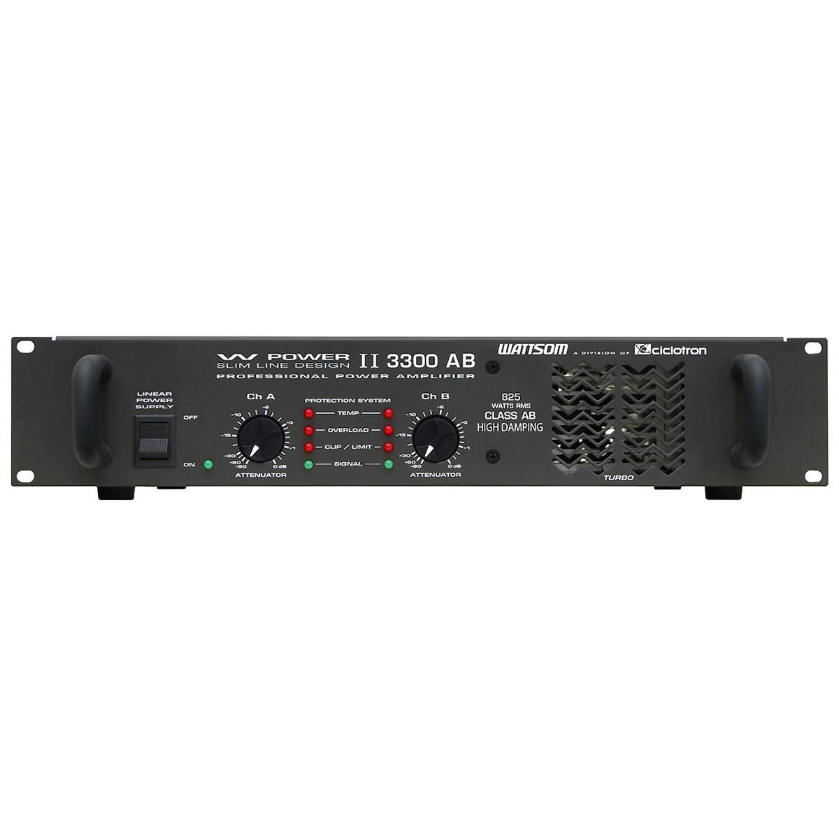 Amplificador Estéreo 2 Canais 825W RMS ( Total ) W POWER II 3300 AB - Ciclotron