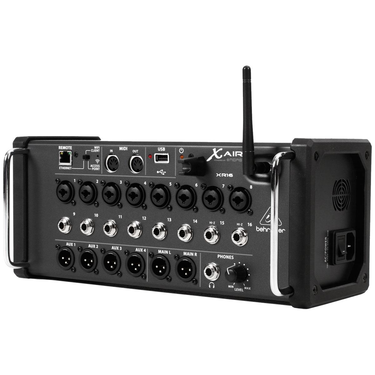Mesa de Som 16 Canais Balanceadas (8 XLR + 8 P10) c/ USB / MIDI / Efeito / Phantom / 4 Auxiliares - X AIR XR 16 Behringer