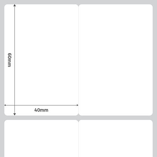 Etiqueta Adesiva BOPP Fosco Branca 40 x 60 x 02 (S4M / ZT230 / ZT410 / ALLEGRO FLEX / M-4206 / PD42) - ID Etiquetas