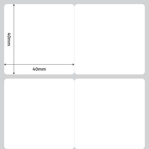 Etiqueta Adesiva BOPP Perolado Branca 40 x 40 x 02 (S4M / ZT230 / ZT410 / ALLEGRO FLEX / M-4206 / PD42) - ID Etiquetas