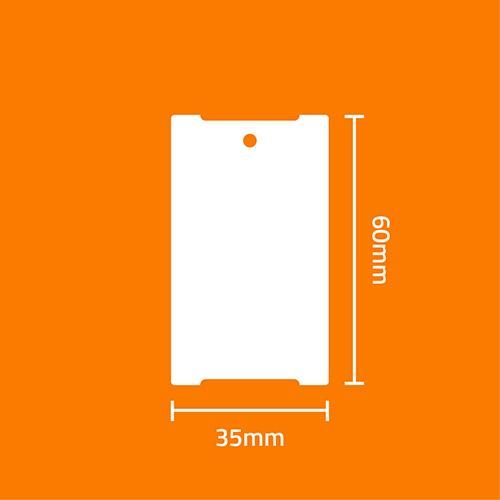 Etiqueta Cart�o Papel Couch� TAG Confec��o Branca 35 x 60 x 03 - ID Etiquetas