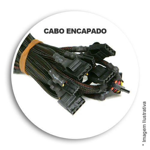 Fonte Real 750w atx Wisecase 24P Fan 12cm + Cabo Inmetro