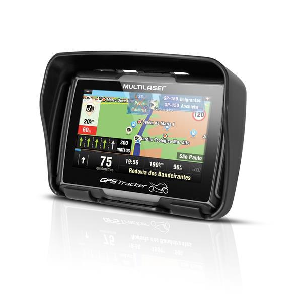 GPS MultiLaser GP040 Tracker 2 para Moto - Tela 4.3´ T.Screen, A Prova d´agua, Função TTS.