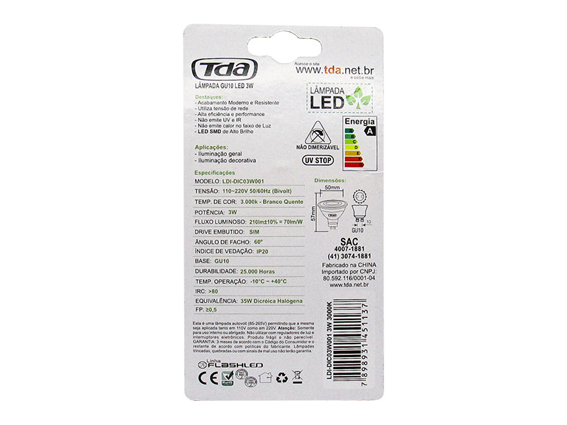 Lâmpada LED 3W - 3000k Dicroica GU10 Bi-Volt TDA - Amarela (210 Lumens)