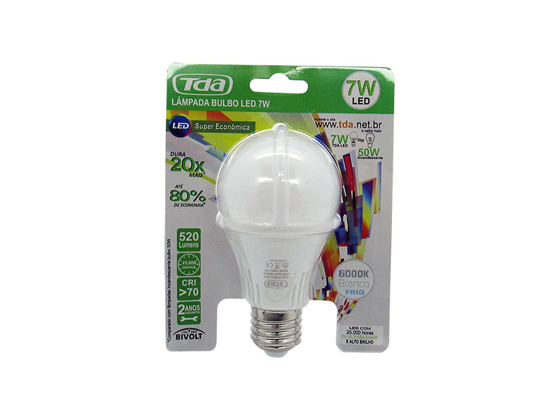 Kit 50 Lâmpadas LED 7w Bulbo E27 Bi-Volt TDA Branca (600 Lumens)