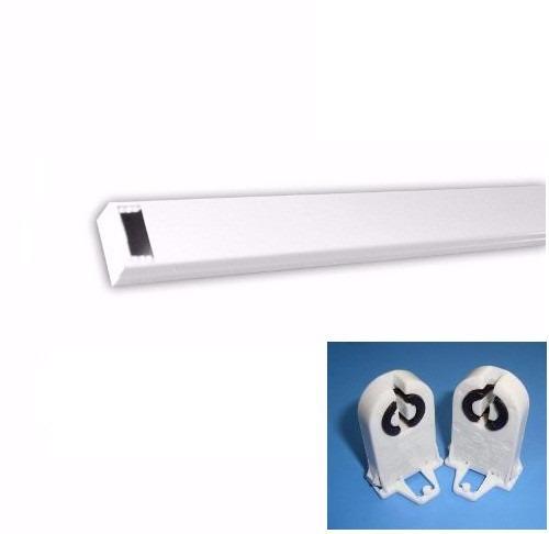 Calha TDA Para Lâmpada Tubular 60cm com Conectores - Branca