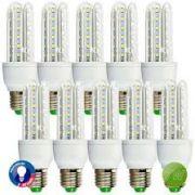 Kit 10 Lâmpadas Super LED 7W 3u E27 Bi-Volt EQQO 6500k Branco (560 Lumens)