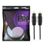 Cabo De Áudio Óptico Digital 10M Plug Gold Toslink Profissional PIX
