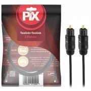 Cabo De Áudio Óptico Digital 2M Plug Gold Toslink Profissional PIX