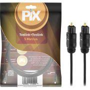 Cabo De Áudio Óptico Digital 5M Plug Gold Toslink Profissional PIX