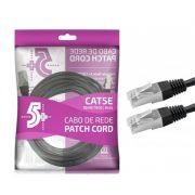 Cabo de Rede Patch Cord Cat5e FTP 10M Bindado 5+ (Preto)