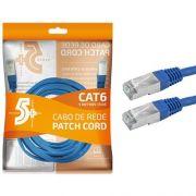 Cabo de Rede Patch Cord Cat6 FTP 5M Blindado 5+ (Azul)