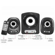 Caixa de Som Subwoofer Stereo 2.1 SS-A300 - BassReflex C/FM, Ent. USB e Cartão SD (Preto)